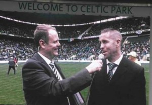 Lee on the big screen at Celtic Park